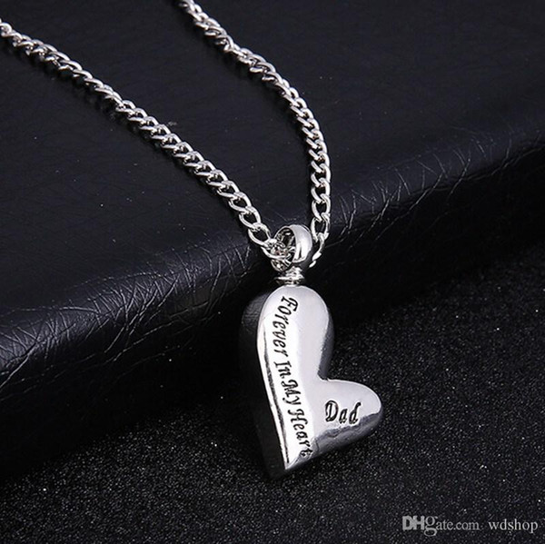 Wholesale silver love heart cremation ashes urn pendant necklace silver love heart cremation ashes urn pendant necklace engraved dad forever in my heart memorial father aloadofball Image collections