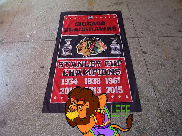 Чикаго Блэкхокс флаг,трикотажные полиэстер 90*150 см,Чикаго футбольный клуб баннер,легкие высококачественные ткани