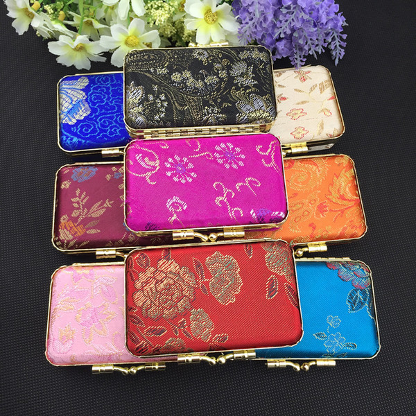 Portable Mirror Small Candy Gift Box Wedding Birthday Favor Boxes Metal Clip Silk Brocade Floral Cloth Craft Lipstick Tube Packaging Case
