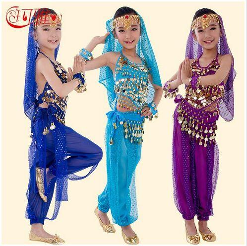 top popular 2018 New Handmade Children Belly Dance Costumes Kids Belly Dancing Girls Bollywood Indian Performance Cloth Whole Set 6 Colors 2021