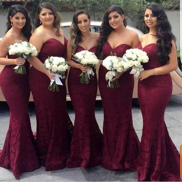 top popular Burgundy Long Bridesmaid Dresses Wine Red Sweetheart Lace Bridesmaid Dress Sexy Mermaid Dress Lace Evening Dresses Wedding Party Dress 2019