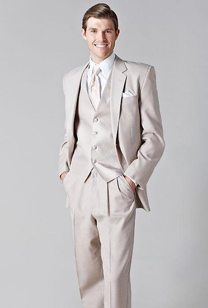 Custom Made Groom Tuxedos Beige Groomsmen Notch Lapel Best Man Suit/Bridegroom/Wedding/Prom/Dinner Suits (Jacket+Pants+Tie+Vest)