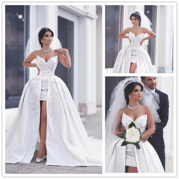 said mhamad short front long back wedding dress white ball gown