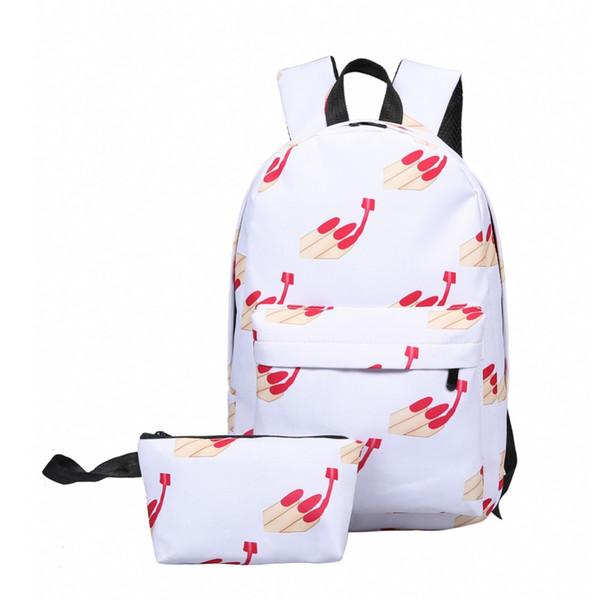 Wholesale- Women Backpack For Teenage Girls School Bags Rucksack Women Sexy Fingernails Pattern Printing Backpacks Set For Student Bags