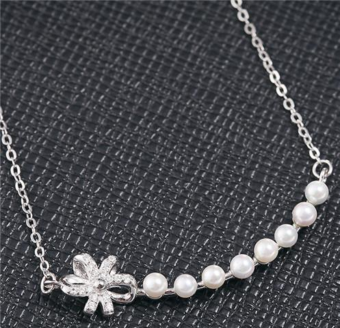 real 925 sterling silver jewelry pendants pearl necklaces woman lady cross chains white gold rose gold bowknot chokers diamante fashion 6 pc