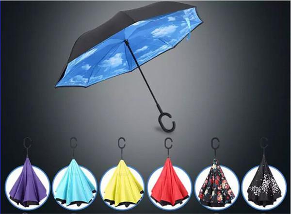 Kreative umgekehrte Großhandelsregenschirme doppelte Schicht mit C-Griff Inside Out Reverse Windproof Umbrella 30 Farben gelegentlich gemischt