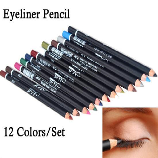 Sıcak 12 Renkler Göz Makyaj Eyeliner Kalem Su Geçirmez Kaş Güzellik Kalem Göz Kalemi Dudak sopa Kozmetik Gözler Makyaj