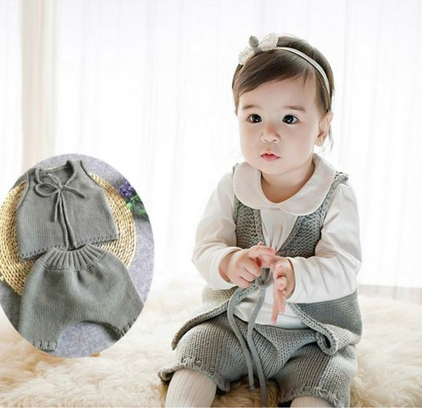 Baby Clothing Boys Girls Kintted Set Toddler Clothing Newborn Suit Four Colors Vest and Pants Infant Clothes for 5-12 months