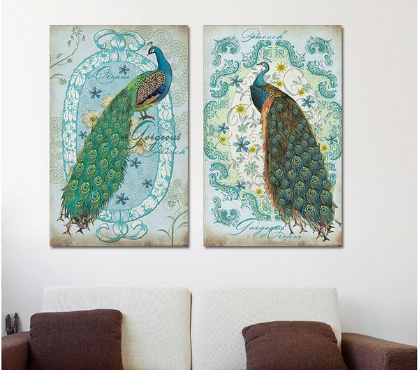2 pcs Modern Animal Peacock canvas painting children living room kids decoration peahen wall art pictures home decor unframed