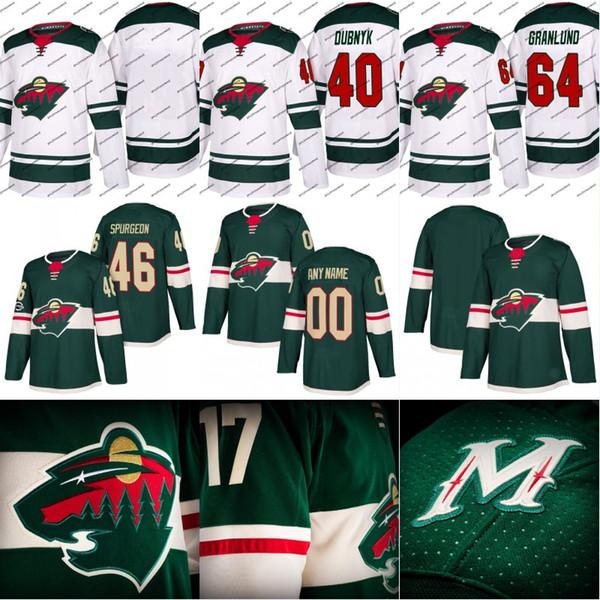 Minnesota Wild Jersey 43 Mario Lucia 45 Damte Salitururo 46 Jared Spurgeon Custom Hockey Jerseys White Green Free Shipping