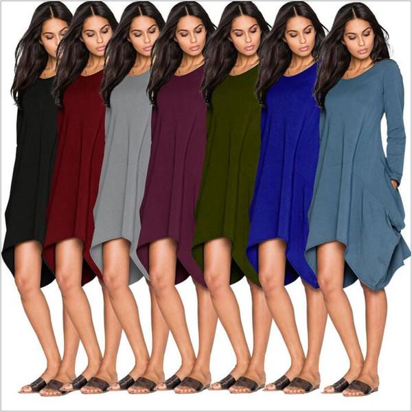 Elbiseler Uzun Kollu Casual Elbise Lady Moda Irregural Elbise Tops Hem Cep Eğlence Elbise Sıcak Satış Katı Vestidos kadın Giysileri B2543