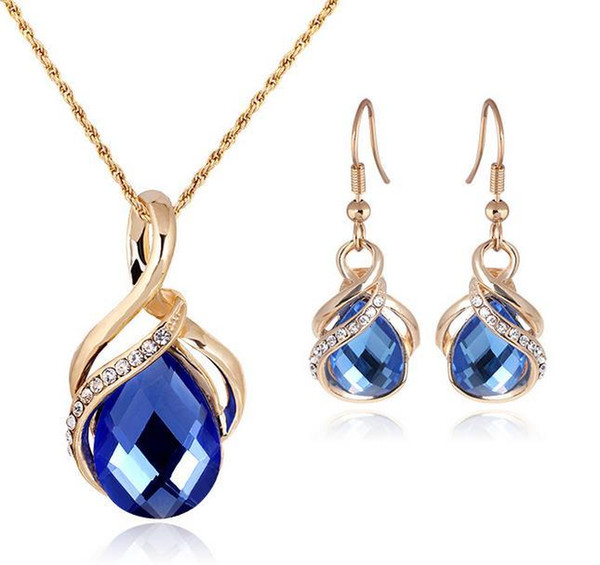 Fashion Sapphire+Austrian Crystal hollow Statement jewelry sets 18K gold Opal Pendant Necklace Earring Set with Swarovski Elements