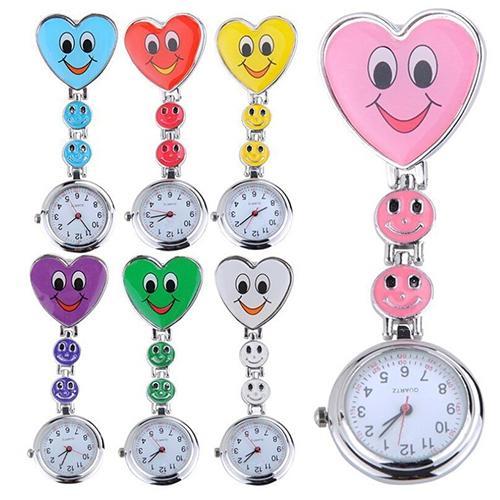 Popular Women's Cute Smiling Faces Heart Clip-On Pendant Nurse Fob Brooch Pocket Watch