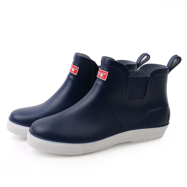 Rain Boots Men Short Tube Fashion Boots Men Spring And Autumn New Anti-Skid Shoes Low To Help Men'S Shoes