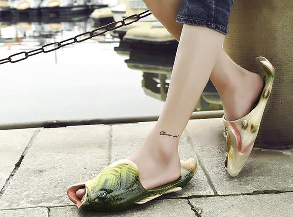 2018 Creative fish slippers handmade Women's men's bass sandals EVR Non-slip beach shoes Personality fish sandals Free Shipping