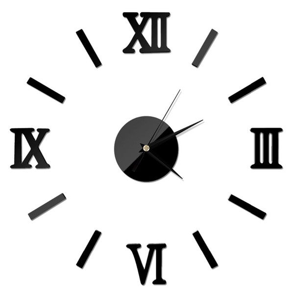 New Fashion Chic Adhesive Silver Vintage Roman Numeral Number Frameless Wall Clock 3D Home Decor High Quality TY898