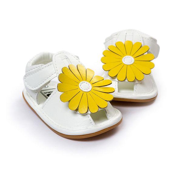 Gelbe Blume Sommer Mädchen Sandalen Neugeborenes Baby Schuhe Leder Mokassins Weiche Sohle Mädchen Kleinkinder Baby Erste Wanderer Mädchen Flache Schuhe