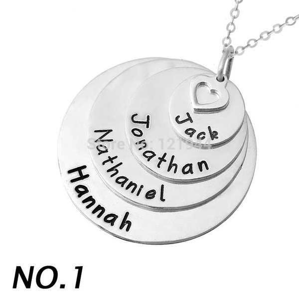 Personalised Layered Stylish stack disc name necklace,alloy pendent,engraved family member names, custom mother's necklace