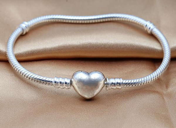Silver heart bracelets,Genuine 100% Authentic 925 Sterling Silver Snake chain jewelry DIY women jewelry fit for brand beads charms 1pc/lot