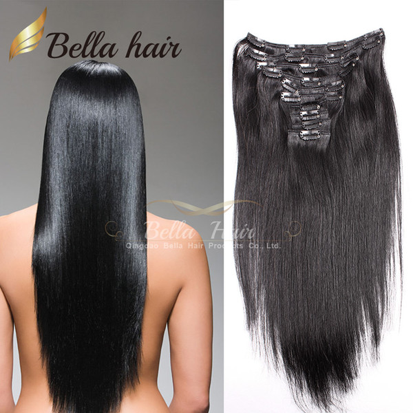 "top popular Brazilian Hair Clip In Hair Extensions Virgin Human Hair 100g set, 20"" #1,#2,#4 Silky Straight Weaves Bellahair 2019"