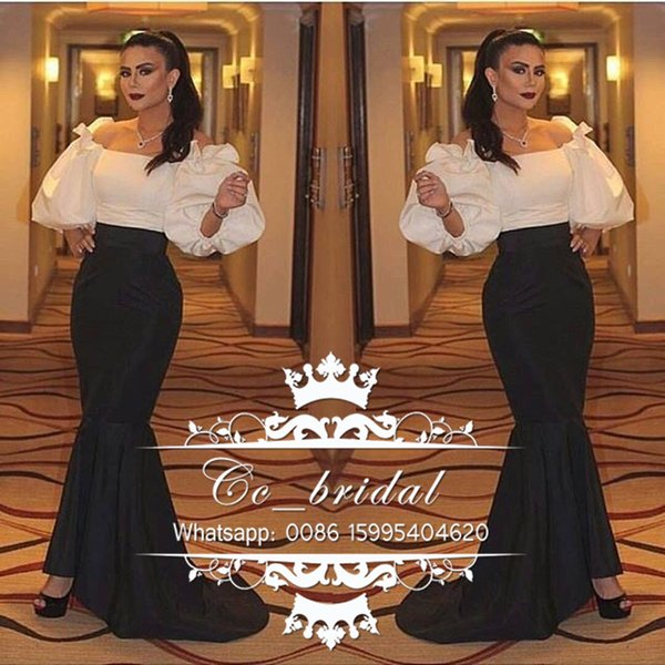 Arabic Mermaid Evening Dresses 2017 with Sleeves Boat neck Black and White Elegant Long Party Prom Gowns New Plus Size Vestidos De Fiesta