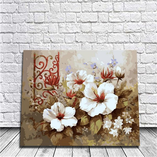 DIY Painting Digital Hand Oil Painting Bedroom Room Restaurant European Style Art Study Decor Plant Flowers Frosty Canvas Wall Art Framed