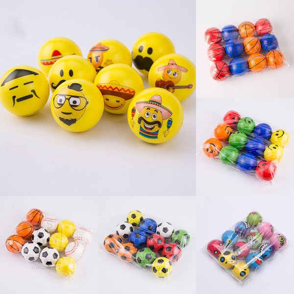 best selling New football Emoji Face sponge ball Stress Relax Emotional Toy Balls Halloween Monster squishy balls 10 styles 6.3cm 2.5inches C2652