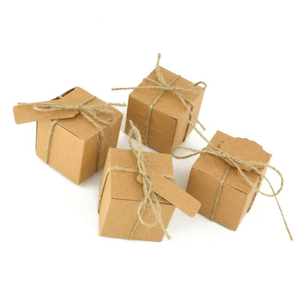 1000pcs/lot Retro Mini Kraft Paper With Rope Jute Box DIY Wedding Gift Favor Boxes Birthday Baby Shower Favors Party Candy Box ZA0970
