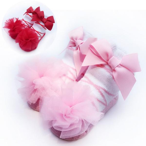 Ballet Style Baby Infant Tulle Bowknot Girls Socks European & American New Born Baby Stockings Girl Adorable Cotton Princess INS Socks 9573