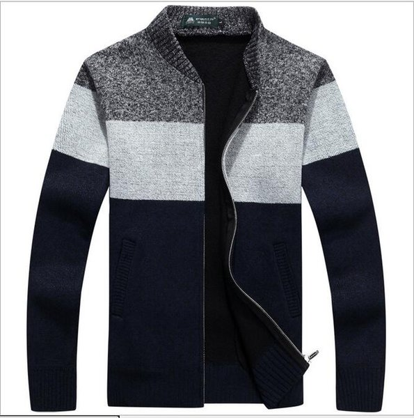 New Men Sweaters Casual Wool Warm Men Sweater Autumn Winter Business Casual Cardigan Knitted Sweater Jacket Fashion Color Striped Male Sweat