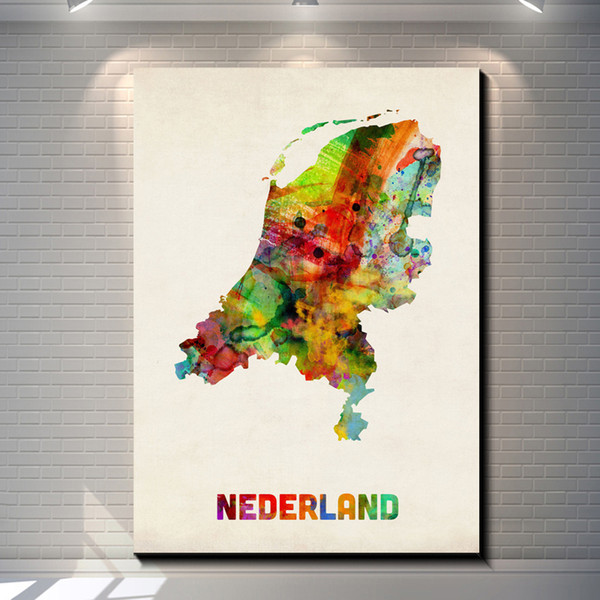 Vintage Watercolor map of Netherlands Pictures Painting Canvas Poster Painting Print Hotel Bar Garage Living Room Wall Home Art Decor Poster