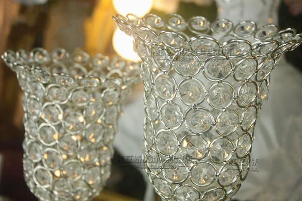 Rose Blume Kristall Hochzeit Kerzenhalter Romantische Stehend Hochzeit  Kerzenständer Glänzend Silber Vergoldet Hochzeit Herzstück Party Event Dekor