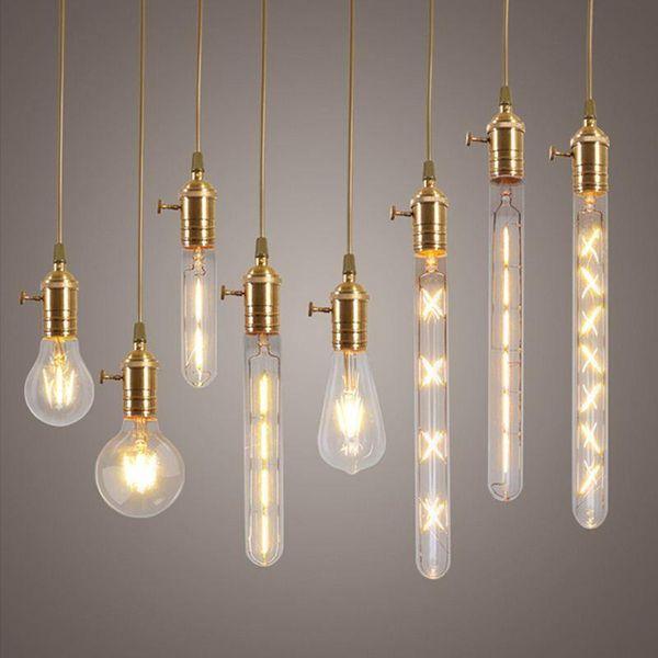 2W 4W 6W 7W 8W E27 LED Bombilla de filamento Lámparas de Edison de cristal transparente para iluminación de lámpara de interior de época