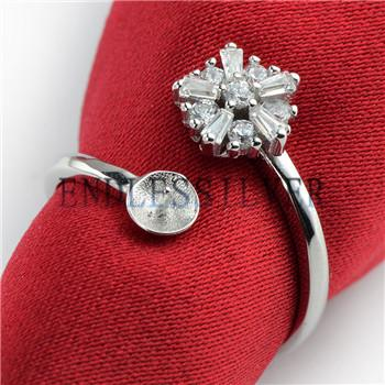 Ring Settings Base Flower Cubic Zirconia 925 Sterling Silver DIY Jewellry Finding Mountings for Pearl Party