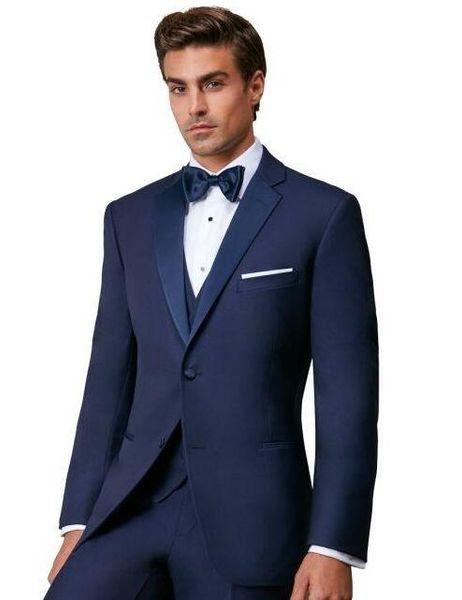 Son Tasarım Iki Düğme Mavi Damat Smokin Groomsmen Notch Yaka Best Man Suits Mens Düğün Blazer Suits (Ceket + Pantolon + Yelek)