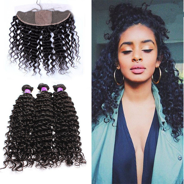 Virgin Brazilian Deep Curly Silk Base Frontal With 3Bundles 4Pcs Lot Brazilian Deep Curly Hair Weaves With Silk Top Full Lace Frontals 13x4