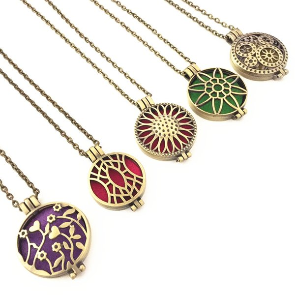 (20pc)Yoga Jewelry Sunflower Petal Locket Can Open Filigree Antique Bronze Essential Oil Aroma Diffuser Necklace with Colorful Pads