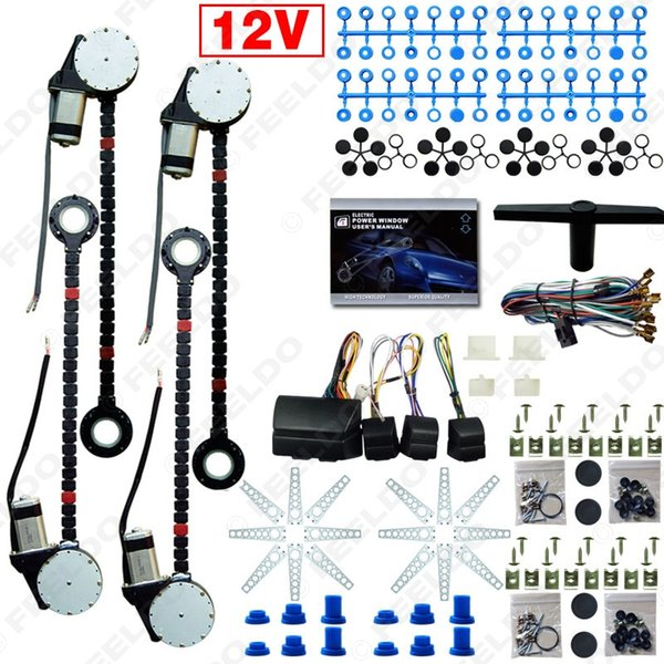 top popular FEELDO DC12V Universal Car Auto 4 Doors Electronice Power Window kits With 8pcs Set Swithces and Harness #907 2021