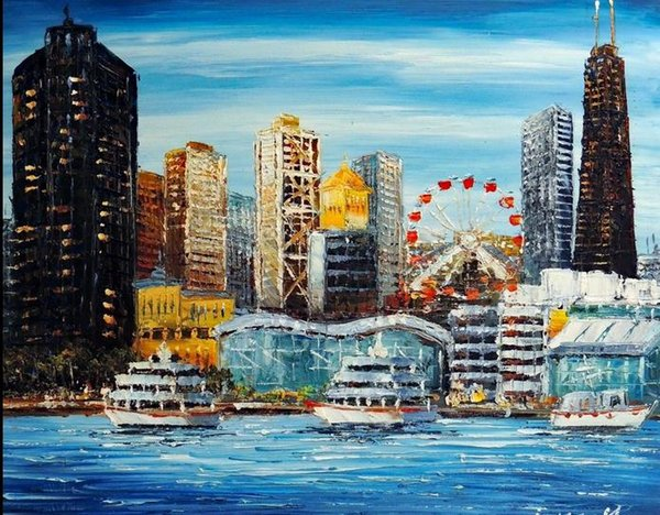 Chicago Downtown Navy Pier Amusement & Shopping Lake Michigan,Handicrafts Scenery & Building Art oil painting On Canvas,in custom sizes