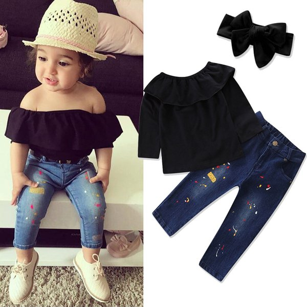 Europe Fashion New Girls Outfit Sets Long Sleeve Tops T Shirts + Bow Headband + denim Pants 3pc Set Suits Children Outfits 2 Colors