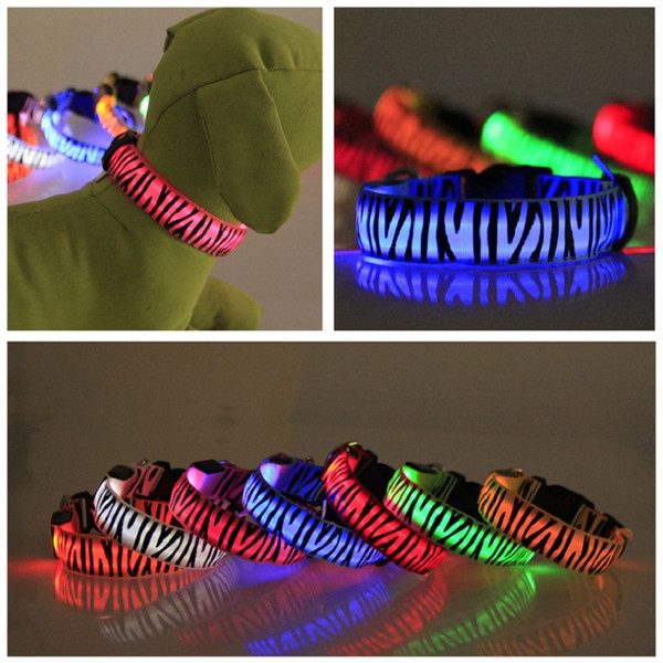 Brand new Pet Dog Accessories flashing light LED Dog Collars Zebra Pattern USB Rechargeable battery 7 colors 4 sizes free shipping