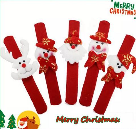 MEW Christmas Gift Luminous Papa Bracelet Xmas Santa Claus Snowman Toys SlapPat Circle Bracelet Wristhand Christmas Party Decoration 360pcs