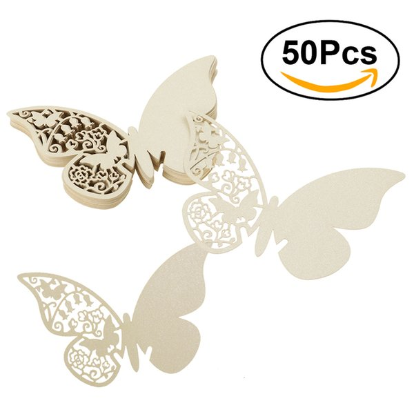 50pcs Butterfly Laser Cut Paper Place Card / Escort Card / Cup Card/ Wine Glass Card For Wedding Party Decoration