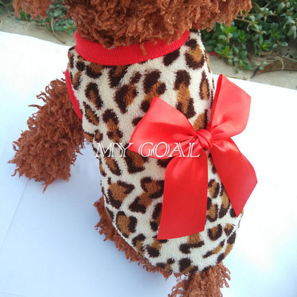 Pets Dog Leopard Clothes Puppy Winter Warm Hoodie Fleece Sweater Costume Apparel With 2 Colors 160912