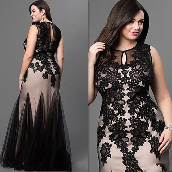 New Plus Size Prom Special Occasion Dresses Jewel Black Lace Appliques Mermaid Long Formal Maxi Evening Party Gowns Cheap Custom Made 2018