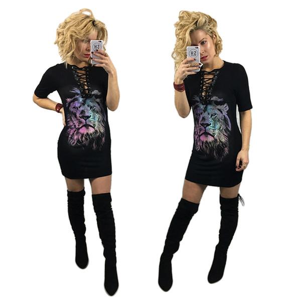 2017 neue frauen Sexy Black Lions Druck Lace Up V-ausschnitt 1/2 Hülse Lange Shirt Kleid Mädchen Street Dance Einzigartige T-shirt Slim Fit Bluse Top