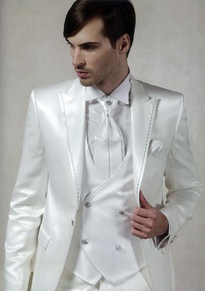 Custom Made Groomsmen Peak Smoking dello sposo con risvolto Shiny White Uomo Abiti da sposa / Prom. Best Man Blazer (Jacket + Pants + Vest + Tie) A52