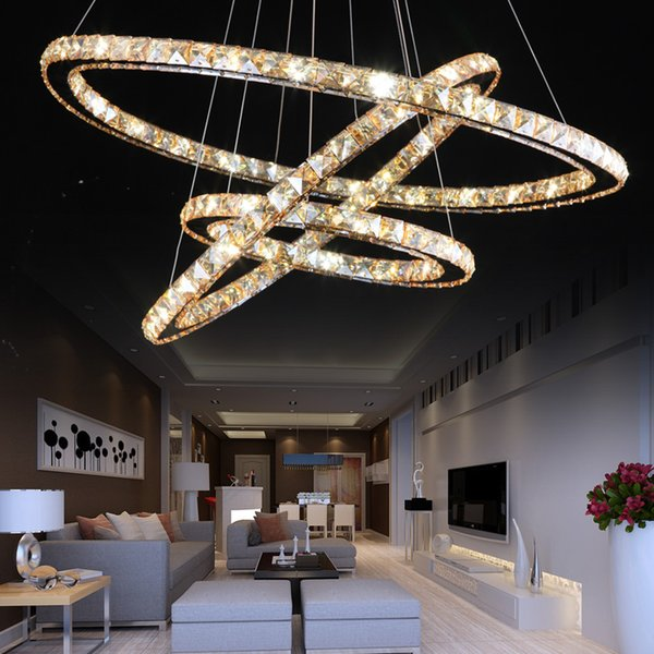 LED Lustre Kristallleuchter Beleuchtung Modern Dining Room Pendelleuchte Wohnzimmer Kreatives Design 3 Ring