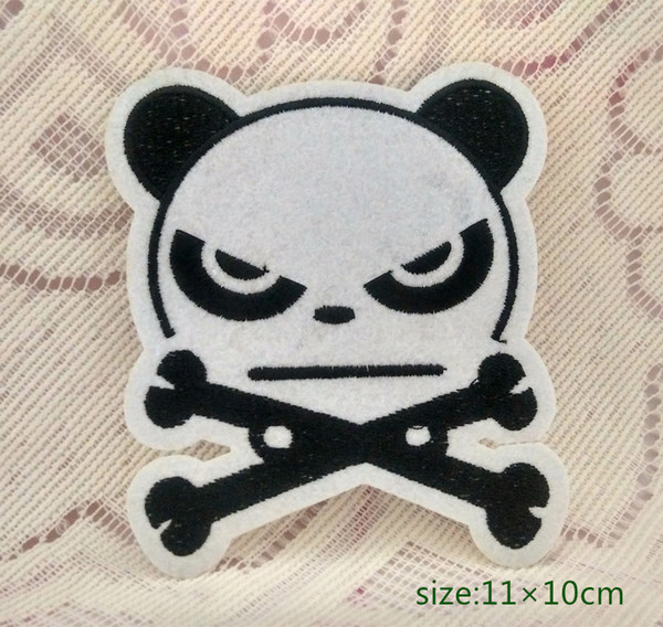 Cool Panda crossed legs iron on Sew Embroidered cartoon patch Shirt Kids Gift baby shirt bag trousers coat Decorate Individuality Animal