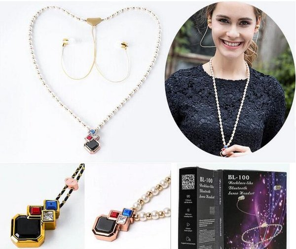 Fashion Design Girl Diamond Necklace Stereo Bluetooth In-ear Earphone Wireless Headset Handfree Headphones For iPhone Galaxy Phones with box